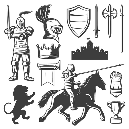armored: Knights monochrome elements set with medieval castle heraldic symbols armored warriors edged weapon isolated vector illustration