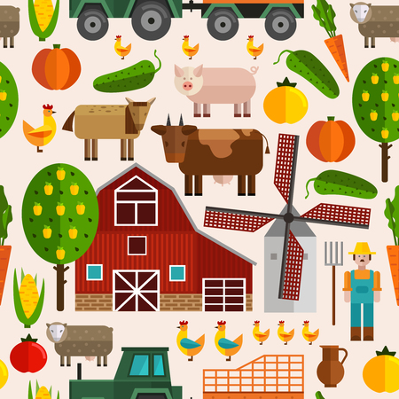 Flat farm pattern with buildings trees animals products and characters in color vector illustration Illustration