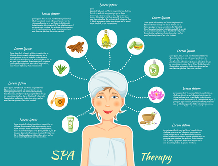 towels: Spa therapy infographics with woman in towels and signs of body procedures on blue background vector illustration Illustration