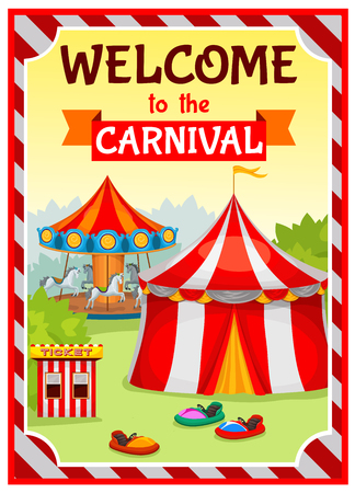 the substrate: Amusement park poster with circus tent and carousel on natural landscape background with striped substrate vector illustration Illustration