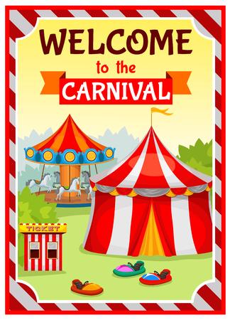 Parco divertimenti manifesto con tenda da circo e giostra sullo sfondo del paesaggio naturale con substrato strisce illustrazione vettoriale