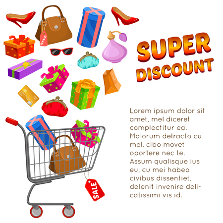 Super discount design with text shopping trolley different goods and packages on white background vector illustration Illustration