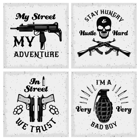 textural: Gangster monochrome quotes with bandit sayings skull and weapon on textural background isolated vector illustration