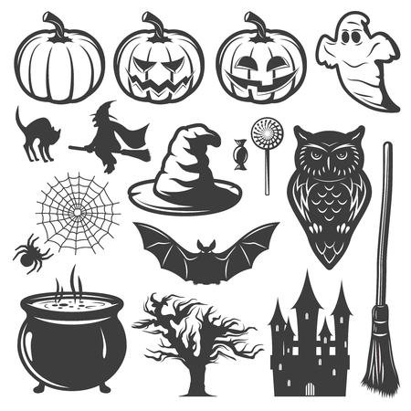 jack pot: Halloween monochrome elements set with lantern of jack witch haunted house creepy forest cauldron isolated vector illustration Illustration