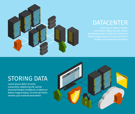 storing: Two horizontal datacenter banner set with descriptions of storing data and datacenter vector illustration Illustration