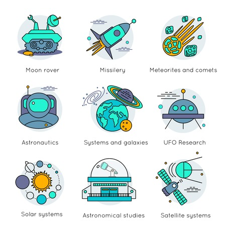 moon rover: Colored and isolated space universe icon set in linear style with descriptions of moon rover missilery astronautics solar systems for example vector illustration