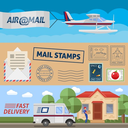 Post service horizontal banners set with air transportation mail stamps and fast delivery isolated vector illustration