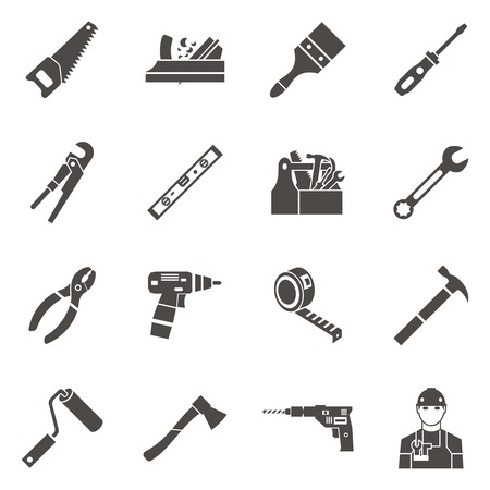 premises: Isolated work tools icon set in black to repair the premises on white background vector illustration Illustration