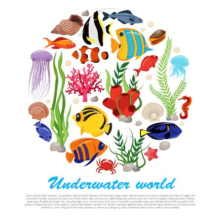 Dennego życia zwierzęta zasadzają plakat z odosobnionym ikona setem łączącym w dużej round i podwodnej światu opisu wektoru ilustraci