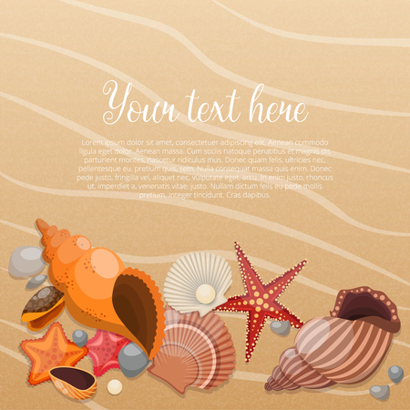 Starfishes on sand colored poster with place for the text and sea life animals vector illustration