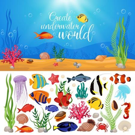 Dennego życia zwierzęta zasadzają z podwodnego dennego życia morskiego ikona setem i tytułem tworzymy podwodną światową wektorową ilustrację Ilustracje wektorowe