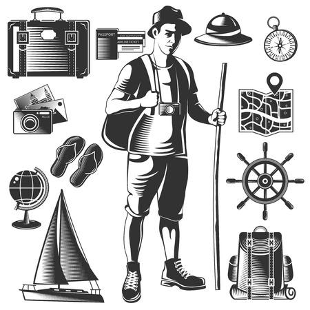 wanderlust: Black vintage wanderlust icon set with traveler and his luggage isolated on white background vector illustration