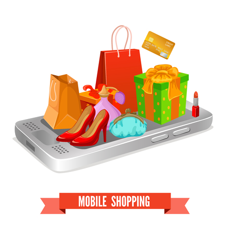 shoe box: Mobile shopping design of packets and boxes shoes and cosmetic on smartphone and banking card vector illustration