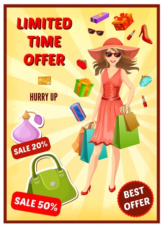textural: Best offer in shop poster with smiling woman advertising of sales on yellow textural background vector illustration Illustration