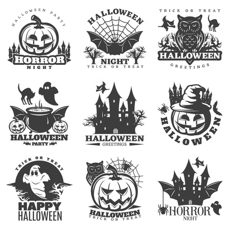 attributes: Halloween black white emblems of parties and greetings with holiday attributes and sayings isolated vector illustration