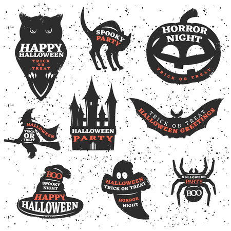 attributes: Halloween elements and quotes set with traditional sayings at animals and holiday attributes isolated vector illustration