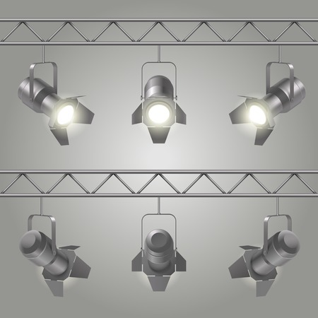 alight: Realistic spotlights set hanging on iron slabs of ceiling and shines on stage vector illustration Illustration