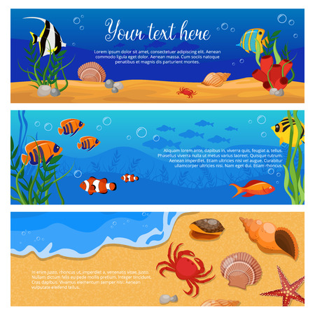 Three isolated horizontal sea life animals plants banner set with fish crabs and space for text vector illustration