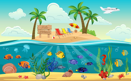 Colored underwater world island composition with sandy beach sun beds and ocean around vector illustration Illustration