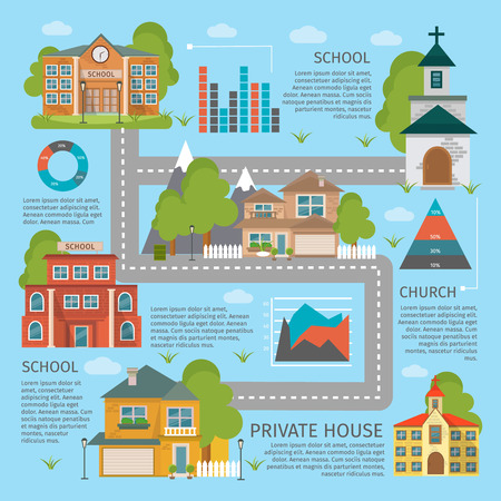 Colored building school church infographics with private houses descriptions and roads vector illustration Illustration