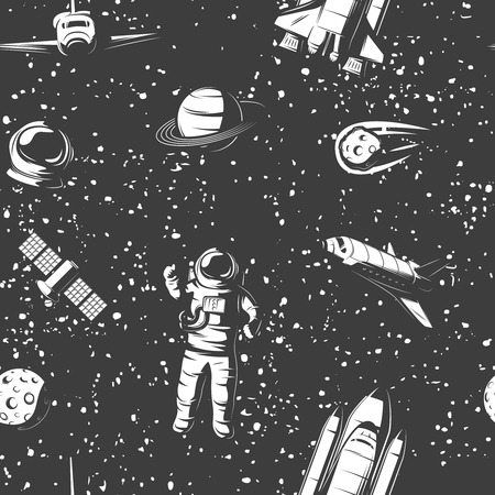 manned: Space monochrome seamless pattern with astronaut cosmic objects manned ships satellite on starry sky background vector illustration