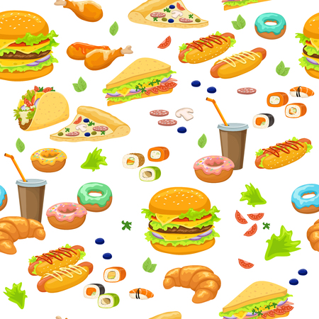 Fast food seamless pattern with burgers and tacos sushi and pizza drinks and pastry vector illustration