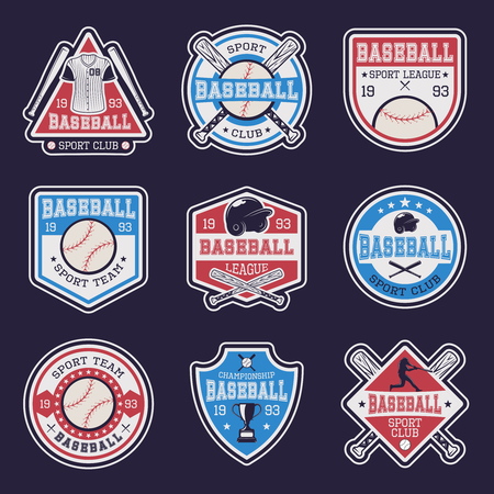 competitions: Baseball colored emblems of clubs and competitions with sports equipment on dark blue background isolated vector illustration Illustration