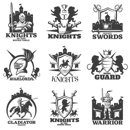 uomo a cavallo: Cavalieri neri emblemi bianche con leoni araldici incrociate arma cavaliere e armato combattente isolato illustrazione vettoriale
