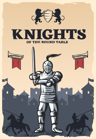 Knights of round table poster with armed and armored warrior on medieval castle background vector illustration