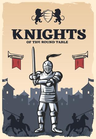 Ridders van de ronde tafel poster met gewapende en gepantserde krijger op middeleeuwse kasteel achtergrond vector illustratie Stock Illustratie