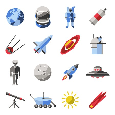 means of transportation: Space colored icon set with space inhabitants means of transportation and equipments vector illustration