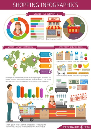 cash register building: Shopping infographics template with world map money employee and consumer food set statistics and diagrams vector illustration