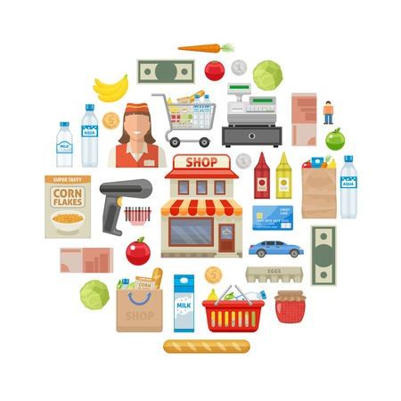 cash register building: Supermarket round composition with shop building and equipment products money trolley and basket smiling employee vector illustration