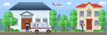 post office building: Post service composition with employee near mail office and delivery of order by destination vector illustration Illustration
