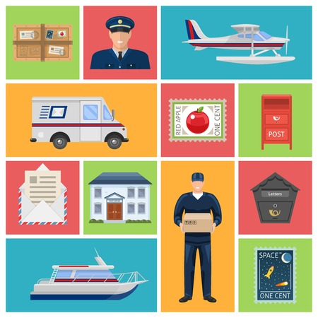 parcels: Post office flat icons with employees letters and parcels mailboxes transportation on colored backgrounds isolated vector illustration Illustration