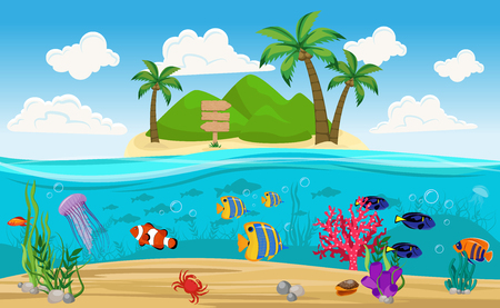 Colored underwater world island composition with uninhabited island in the middle of the ocean vector illustration