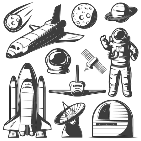 shuttles: Space monochrome elements set with astronaut shuttles and rockets cosmic objects observatory and radar isolated vector illustration