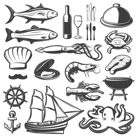grilled salmon: Seafood icon set with fish and vine which are prepared in restaurant vector illustration