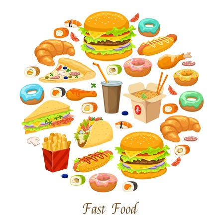 Fast food round composition with american mexican japanese and chinese snack dishes drink and pastry vector illustration