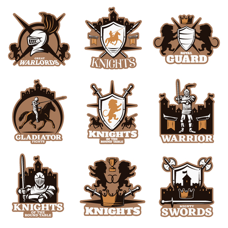 Knights colored emblems with shield and crossed weapon royal symbols armed fighters ancient castles isolated vector illustration Illustration