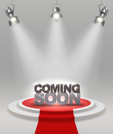 illuminate: Coming soon colored composition on stage with red carpet that spotlights illuminate vector illustration