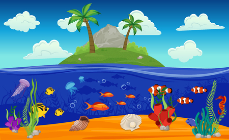 Colored cartoon underwater world island composition with palm threes fish and seaweed vector illustration