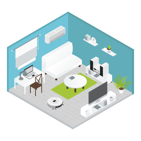 carried: Appliances isometrics living room concept with carried out repairs everything is ready for living vector illustration