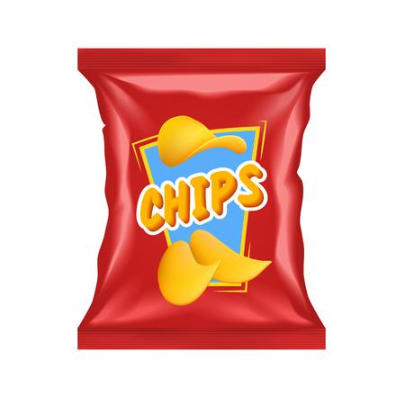 Paquet de chips rouge réaliste avec étiquette de snack isolé avec des ombres et des faits saillants vector illustration