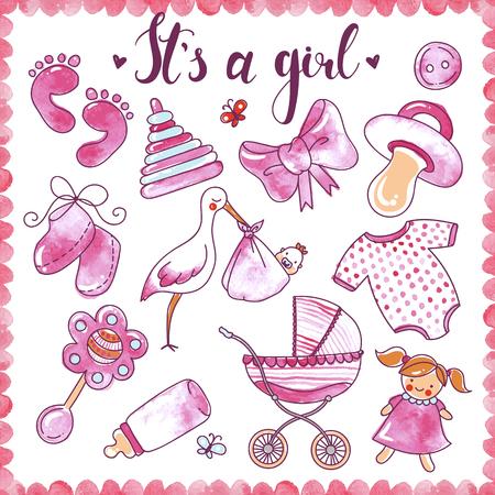 Neugeborene Mädchen Hand gezeichneten Elemente mit Babykleidung Spielzeug gesetzt und Objekte für die Pflege isoliert Vektor-Illustration
