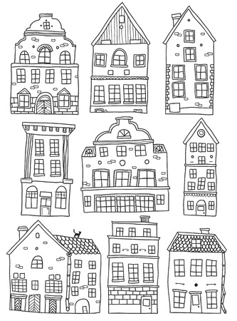 old buildings: Hand drawn houses monochrome set with european old buildings of different architecture isolated vector illustration