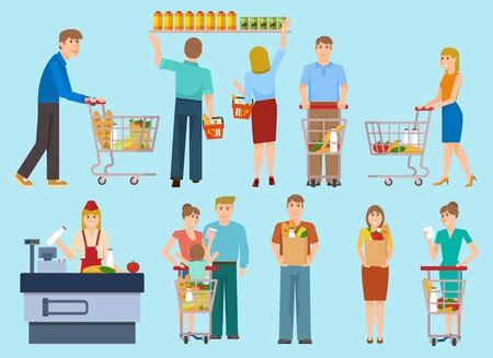 Die Leute im Supermarkt Sammlung mit Kassierer Männer Frauen Familie mit Kind auf blauem Hintergrund Vektor-Illustration Vektorgrafik