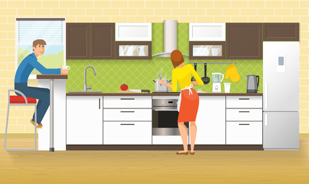 kitchen tile: People at kitchen design with cupboards and cabinets domestic appliances green tile and laminated floor vector illustration Illustration