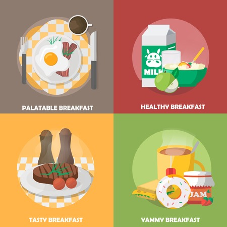 palatable: Breakfast colorful compositions with palatable eggs dish healthy nutrition tasty meal tea and sweets isolated vector illustration Illustration