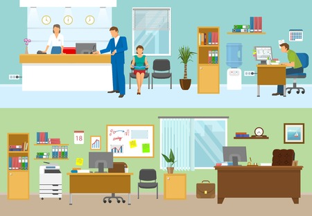 compositions: Modern office compositions with people at workplaces and nobody in green room isolated vector illustration